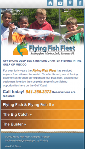 Flying fish fleet launches mobile website for Flying fish fleet